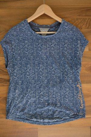 Blau gemustertes T-Shirt