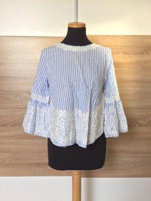 Blau gestreifte Bluse, Shirt Schleife Spitze von Zara, Gr. S (NEU)
