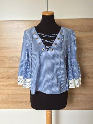 Blau gestreifte Spitzen Schnürung Bluse von Zara, Gr. L (NEU)