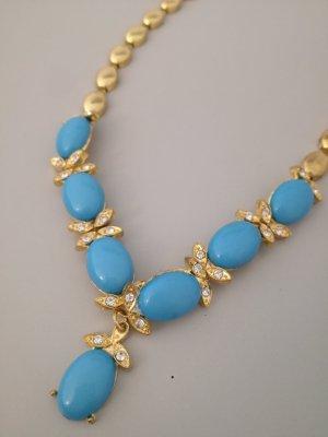 Vintage Collana oro-blu neon