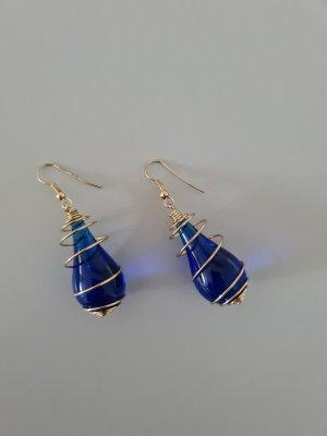 Vintage Pendant d'oreille doré-bleu