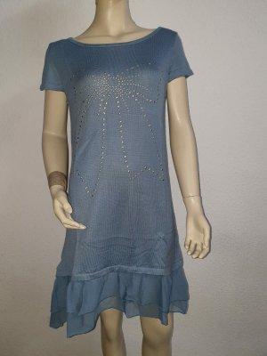 blau/graues Kleid mit Tüll und Perlenschleife! Neu! Größe 38
