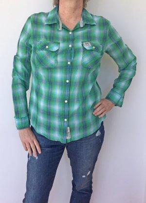 blau-grün karierte leichte Bluse, Größe L (40)
