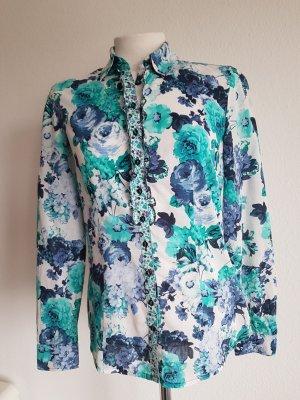 Blau-grüne Bluse mit Blumenmuster von Betty Barclay, Größe 36