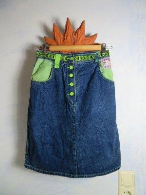 Blau High Waist Jeansrock - Gr. 34 36 - Patch Azteken Muster Boho 100% Cotton - 80s Vintage