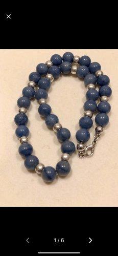 Blau jade Halskette mit Silber Kugeln wie neu