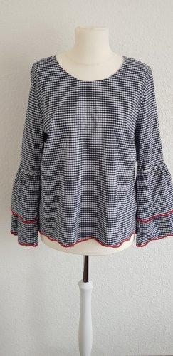 Alba Moda Blouse à carreaux blanc cassé-bleu foncé coton