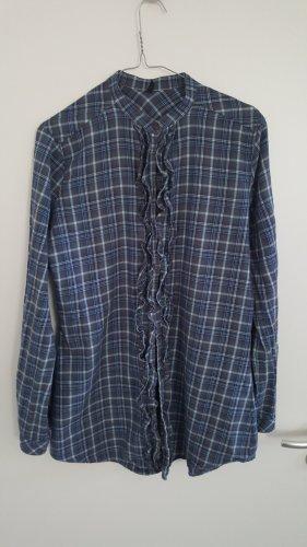 Blau kariertes Baumwollhemd von Benetton, Rüschenleiste vorne, Größe: M