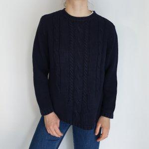 blau L Canda Cardigan Strickjacke Oversize Pullover Hoodie Pulli Sweater Top True Vintage