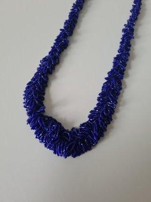 Vintage Collar de perlas azul-violeta grisáceo