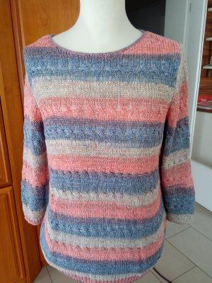 Blau-rosa-beige gestreifter Pullover von Lisa Tossa Gr. M