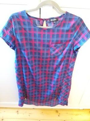 T-shirt jurk rood-blauw