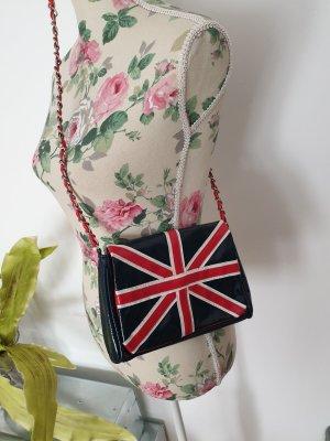 Blau-rote Umhängetasche UK mit Tragekette