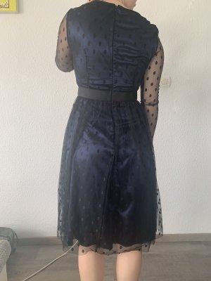 Apart Robe à manches longues noir-bleu foncé