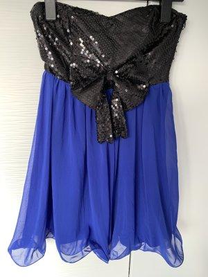 Blau Schwarzes Pailletten Kleid