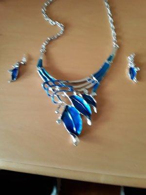 Collier argenté-bleu