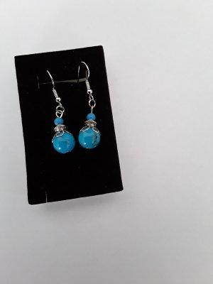 Kolczyk z perłą srebrny-niebieski