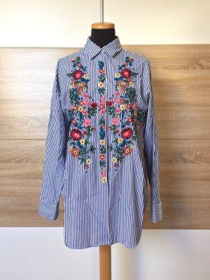 Blau Streifen Blumen Stickerei Bluse, Hemd von Zara, Gr. XS (NEU)
