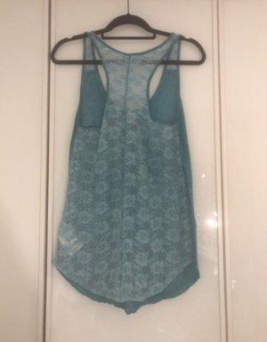 Blau, türkisenes, sommerliches Oberteil von Roxy mit schöner Spitze am Rücken