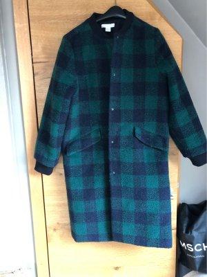 Blau und Grün karierter Mantel im Blouson-Stil