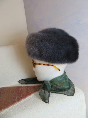 Vintage Cappello in pelliccia viola-grigio Pelliccia