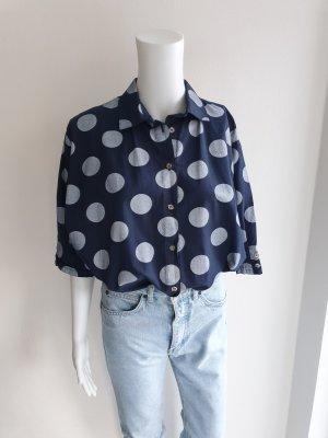 blau weiß Boyco M Polkadots Hemd True vintage Bluse oversize pulli pullover top Shirt