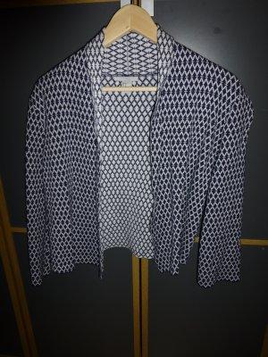 H&M Kort jack donkerblauw-wit Gemengd weefsel