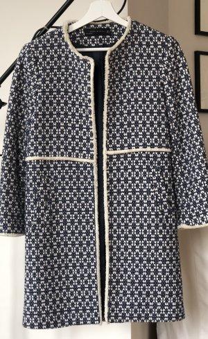 Blau/weiß gemusterter Tweed Mantel ZARA