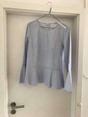 Blau-weiß gestreifte ausgestellte Bluse mit Trompetenärmel