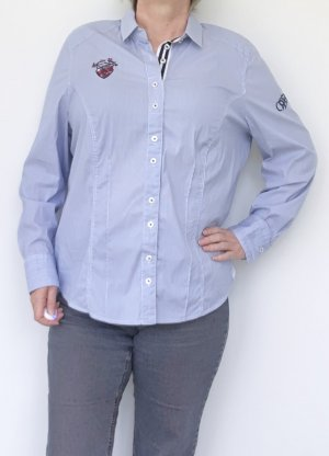 Basler Long Sleeve Blouse white-azure cotton