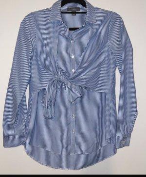 Blau weiß gestreifte Bluse elegantes Business Hemd mit Schleife Blogger