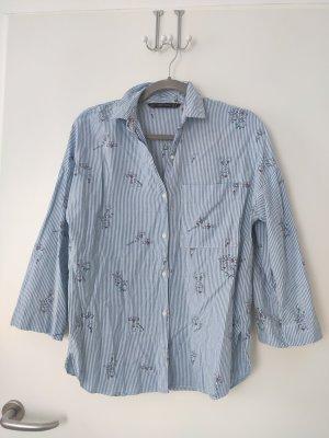 Blau weiß gestreifte Bluse Hemd mit Print Muster Zara Insta Blogger