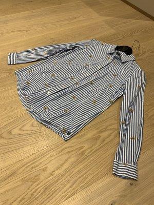 Blau weiß gestreifte Bluse mit Stickereien von Scotch &Soda