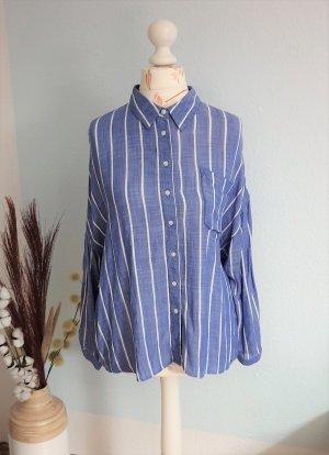 blau-weiß gestreifte Bluse, oversized Hemd von Zara