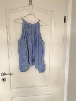 Blau weiß gestreifte Bluse von H&M in Größe 36 mit Knopfleiste und cut outs