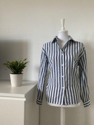blau-weiß gestreifte Bluse von SHEIN