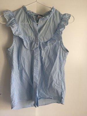 Blau Weiß gestreifte Bluse zum Knöpfen mit Rüschen