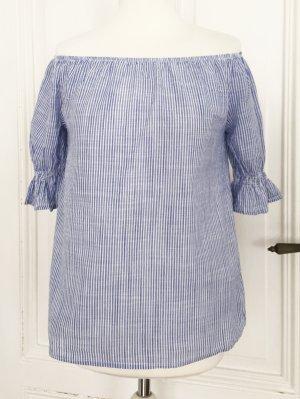 Blau weiss gestreifte schulterfreie Bluse mit dezenten Puffärmeln NEU 100 % Baumwolle