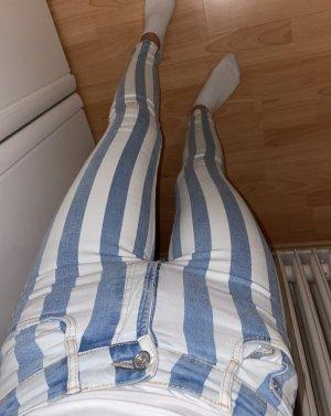 Blau weiß gestreifte Skinny jeans von Zara