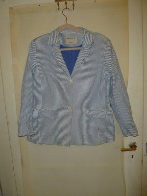 Ann LLewellyn Blazer court blanc-bleu azur