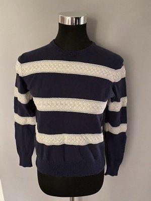 Blau/weiß gestreifter Pullover von DeFry, Gr. XS