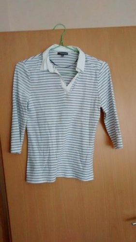 blau-weiß gestreiftes Baumwoll-Shirt