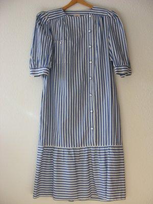Sukienka z falbanami biały-stalowy niebieski Bawełna