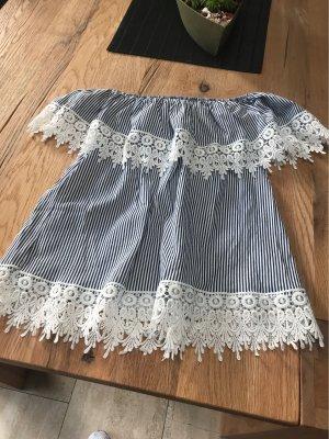 Carmen blouse wit-blauw Katoen