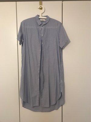 H&M L.O.G.G. Vestido tipo blusón blanco-azul aciano