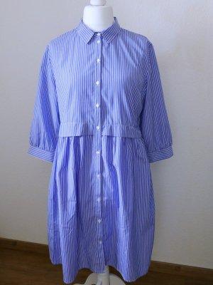 Jacqueline De Young Vestido tipo blusón azul acero-blanco tejido mezclado