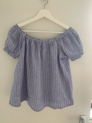 Only Off the shoulder top wit-blauw