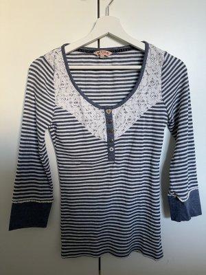 Blau-weiß gestreiftes Review Shirt