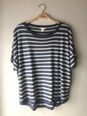 H&M T-shirt biały-niebieski