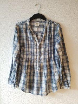 blau weiß karierte Hemdbluse Bluse mit Knopfleiste